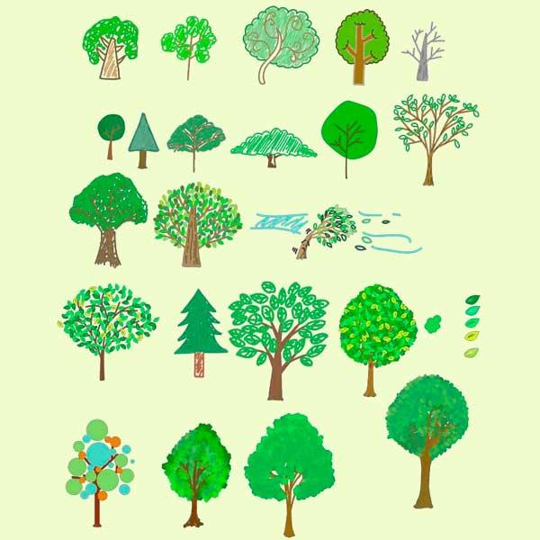 可愛い手書きの木のベクターイラスト