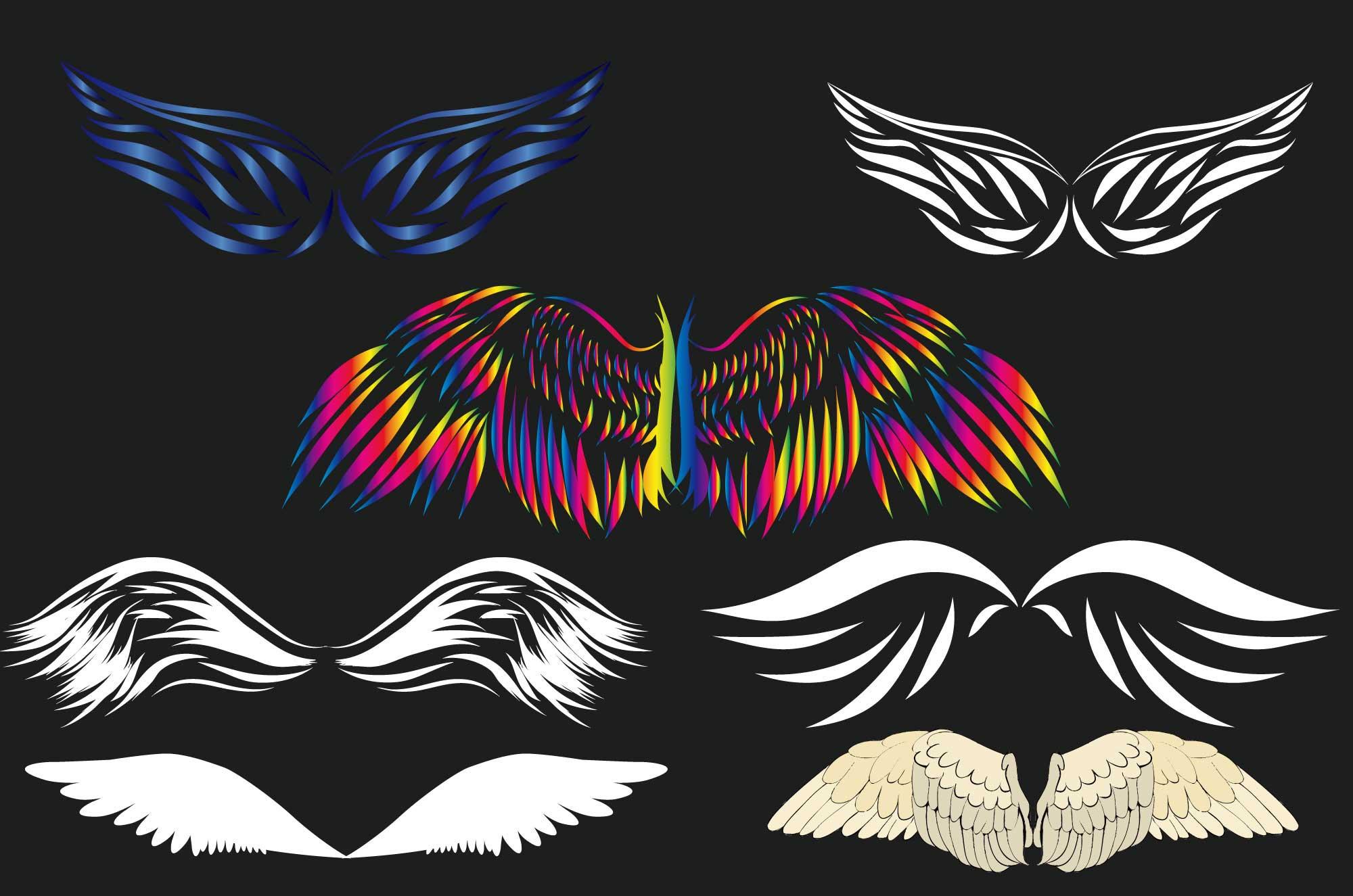 かっこいい翼のイラスト - 装飾デザインのフリー素材 - チコデザ
