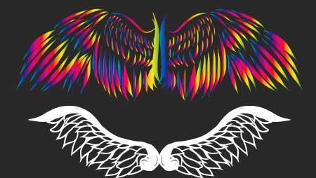かっこいい翼のイラスト - 装飾デザインのフリー素材