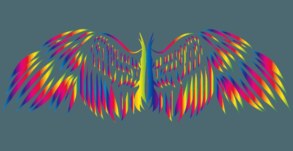カラフルポップなかっこいい翼のイラスト