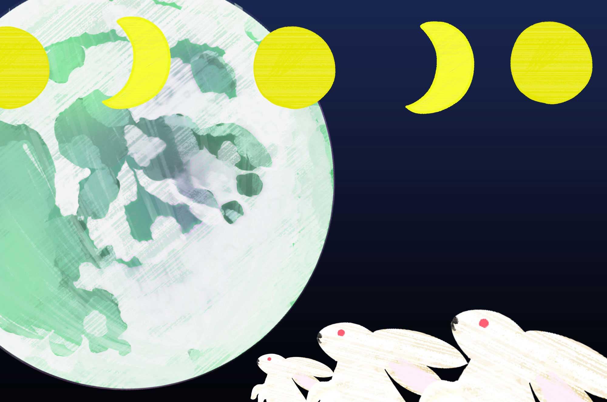 月イラスト - 十五夜や月の満ち欠けの無料素材