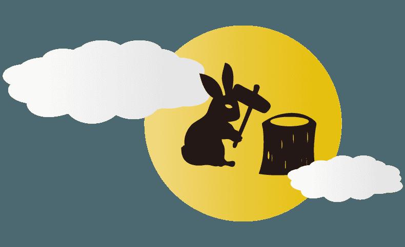 月とうさぎの餅つきイラスト