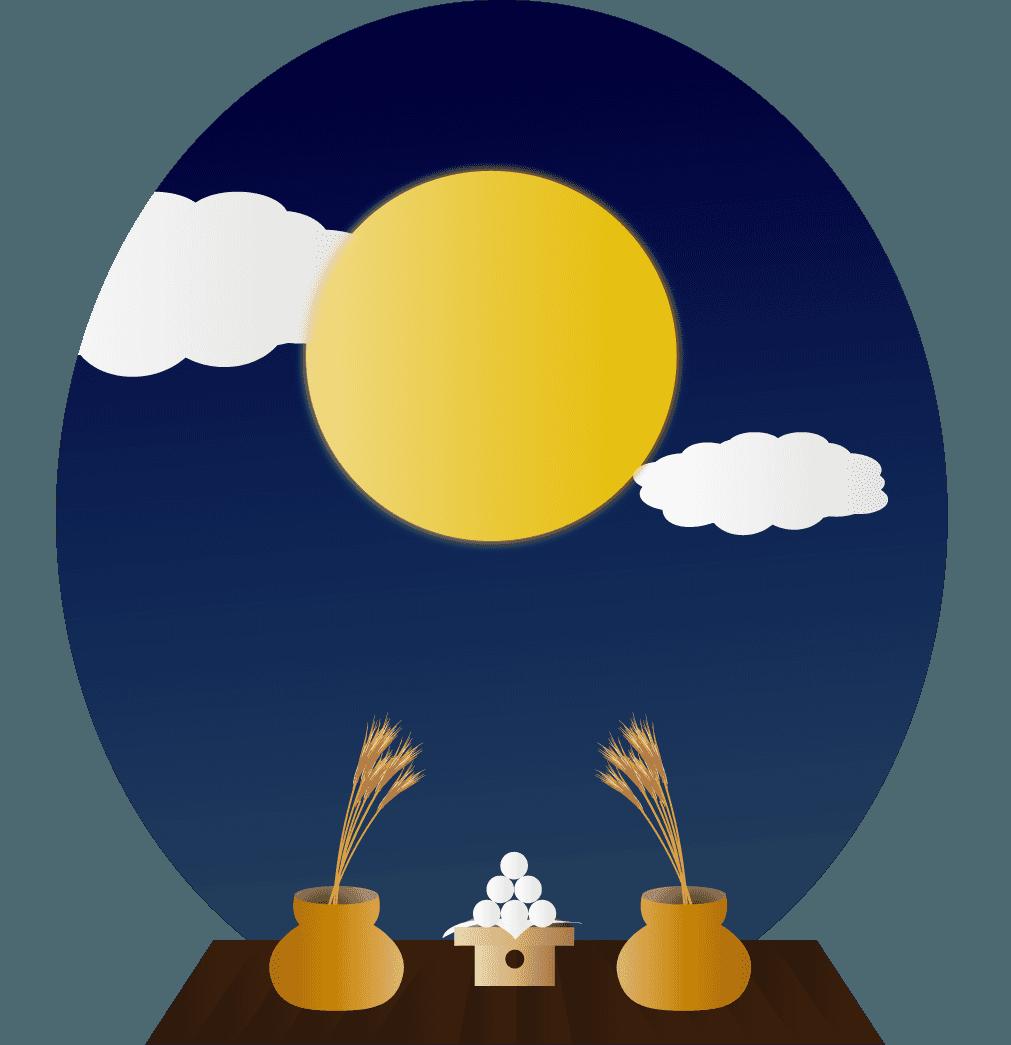 お月見とお団子とすすきのイラスト