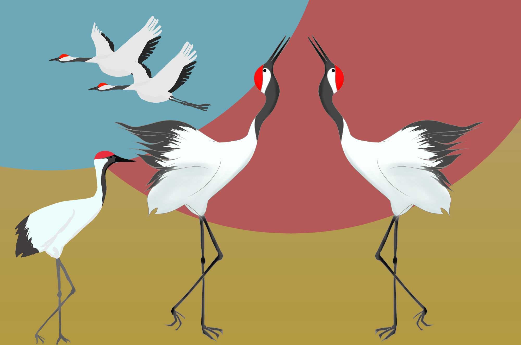 鶴イラスト - 和をイメージするおめでたい鳥素材