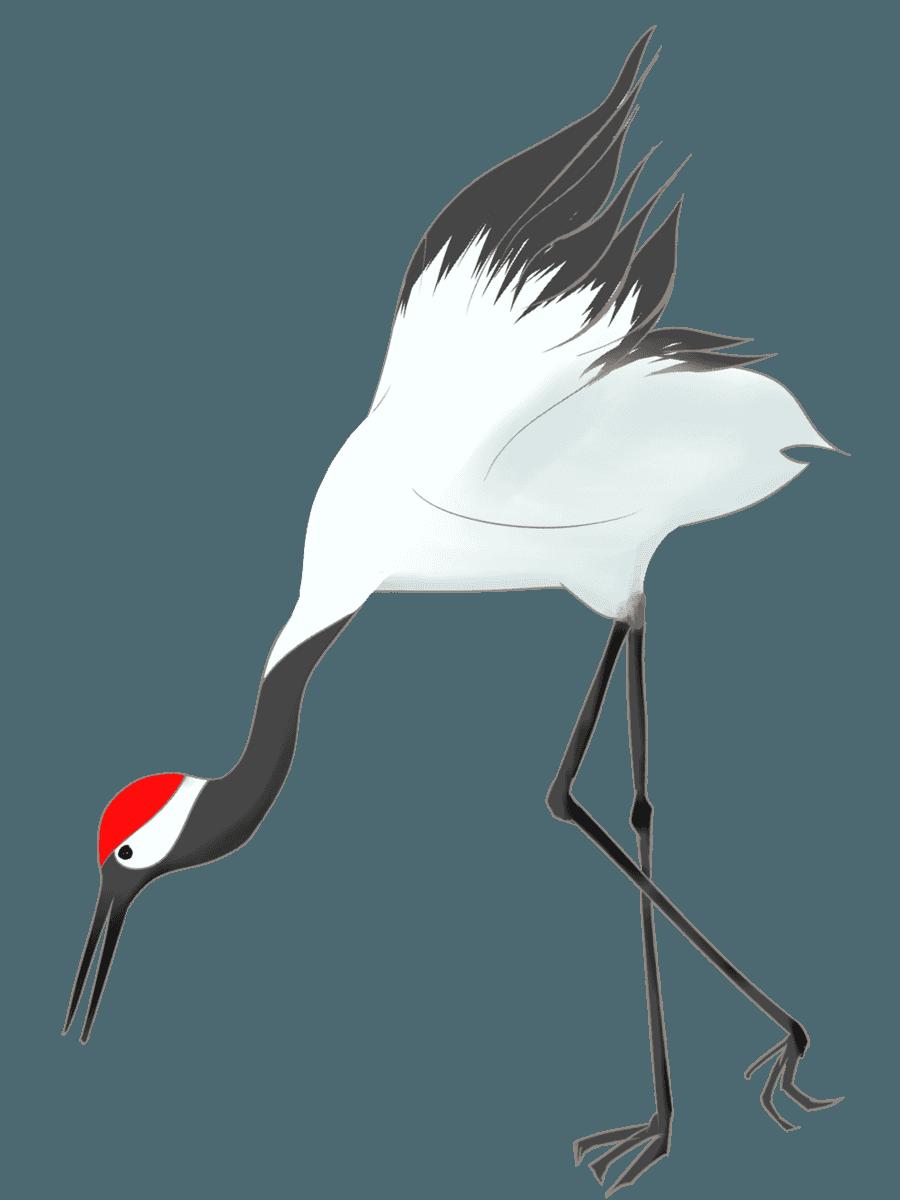 餌をついばむ鶴イラスト