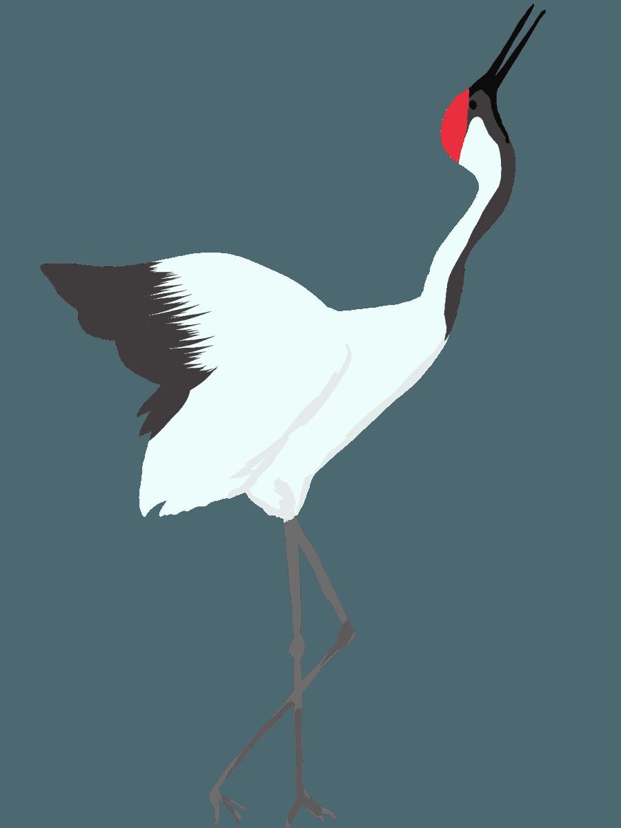 上を向いて泣く鶴のイラスト右むき