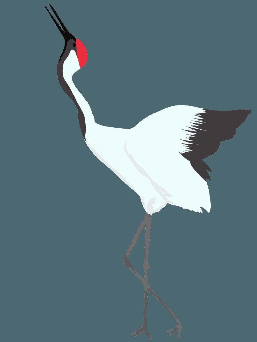 上を向いて泣く鶴のイラスト左むき