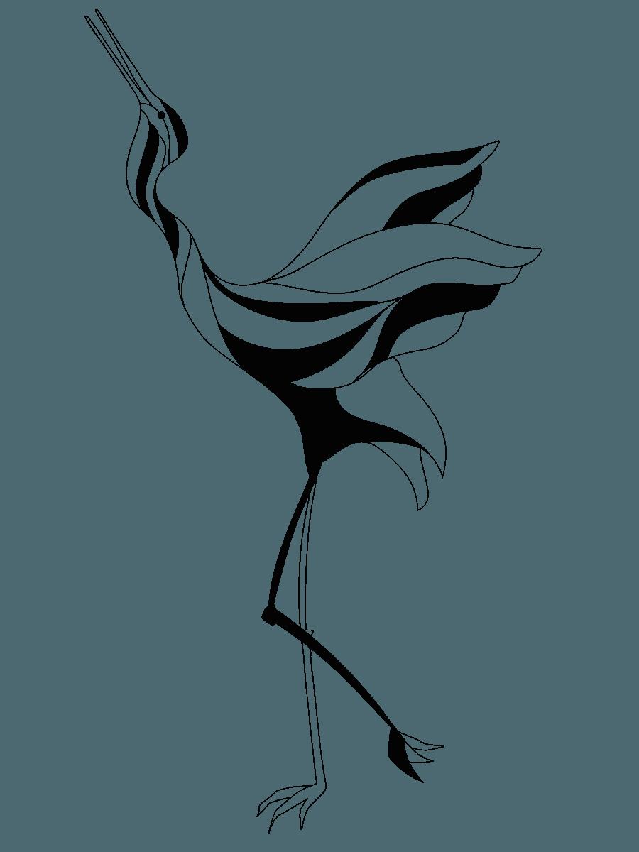アートな線画の鶴イラスト