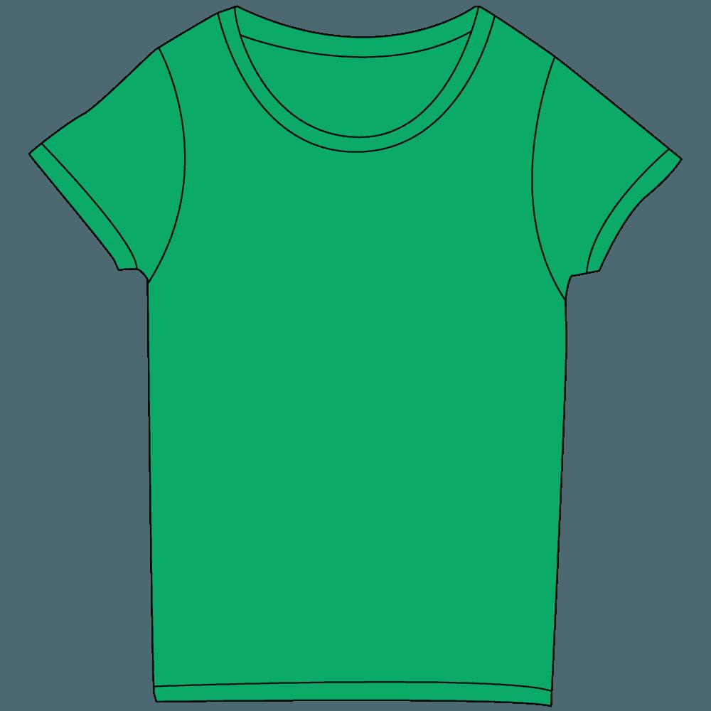レディース濃色グリーンTシャツイラスト