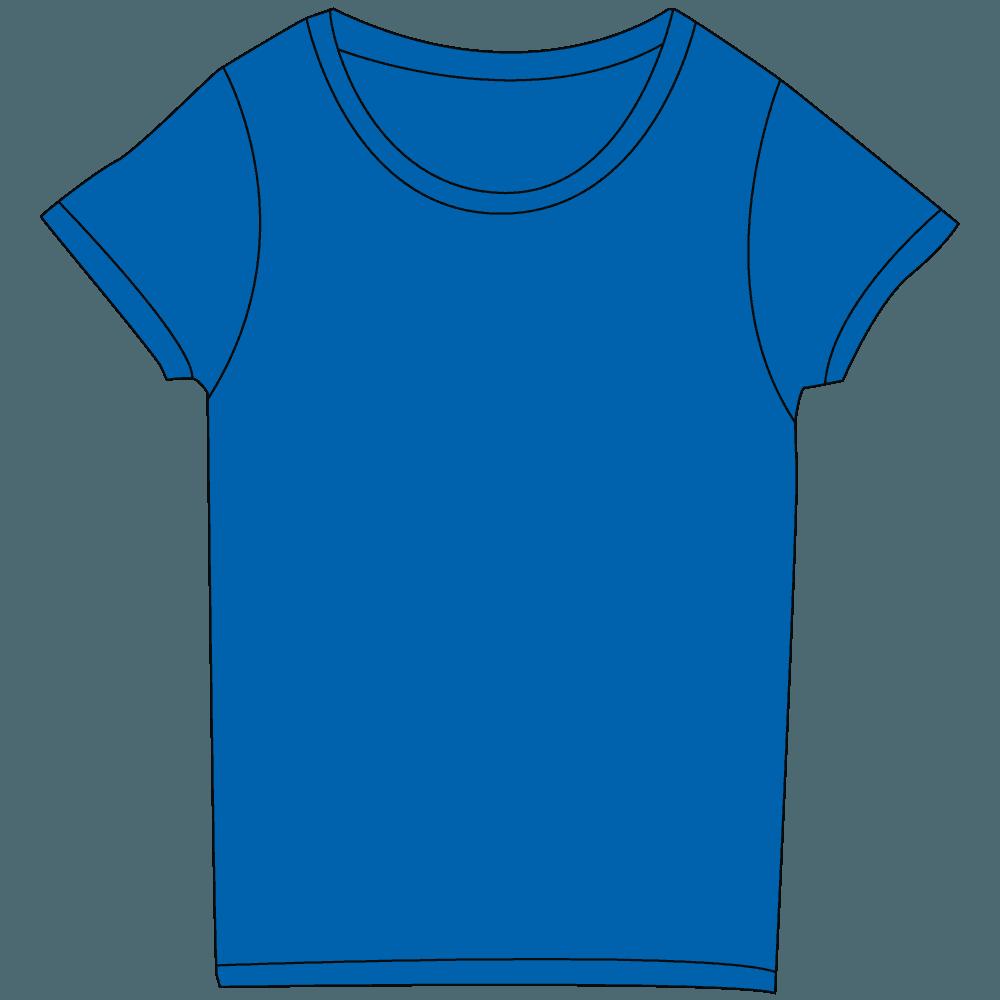 レディース濃色ブルーTシャツイラスト