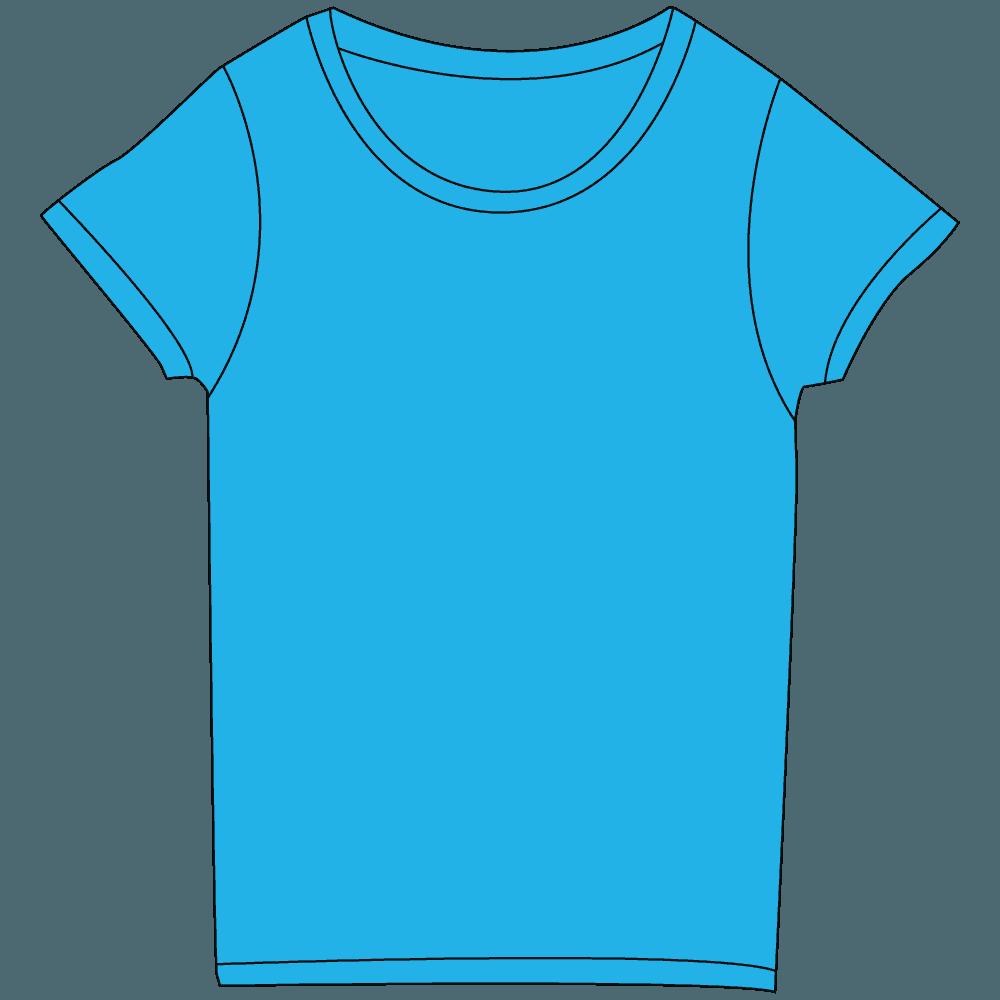 レディース濃色水色Tシャツイラスト