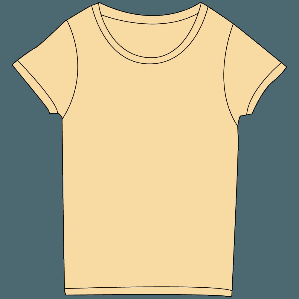 レディース淡色オレンジTシャツイラスト