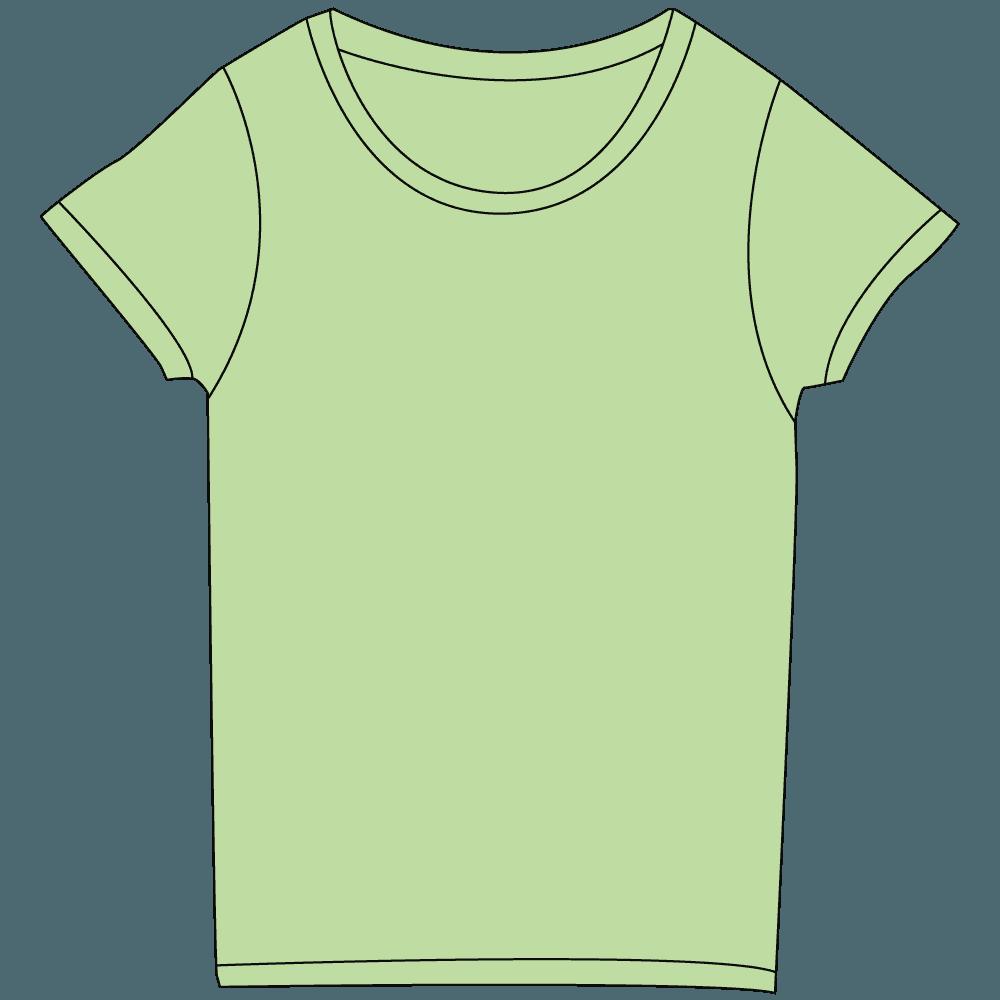 レディース淡色グリーンTシャツイラスト