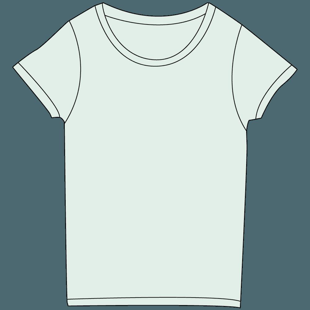 レディース淡色水色Tシャツイラスト