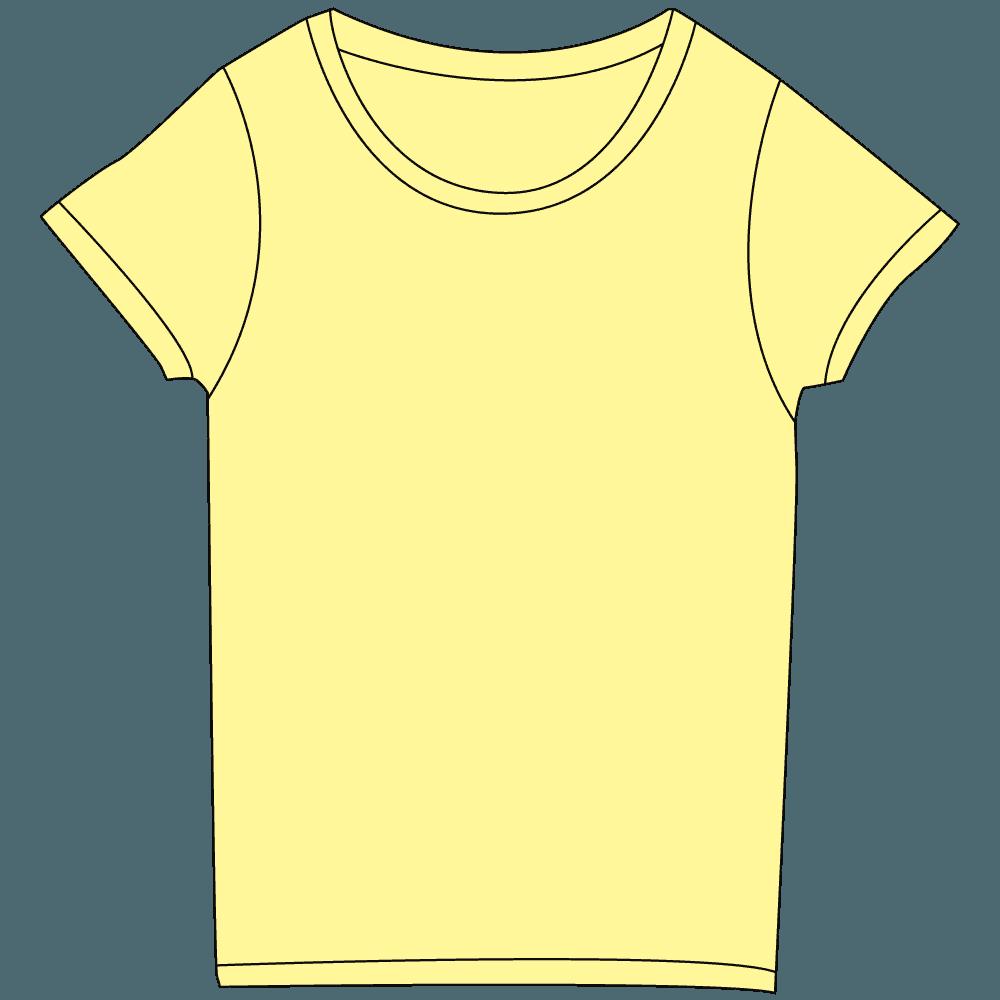 レディース淡色黄色Tシャツイラスト