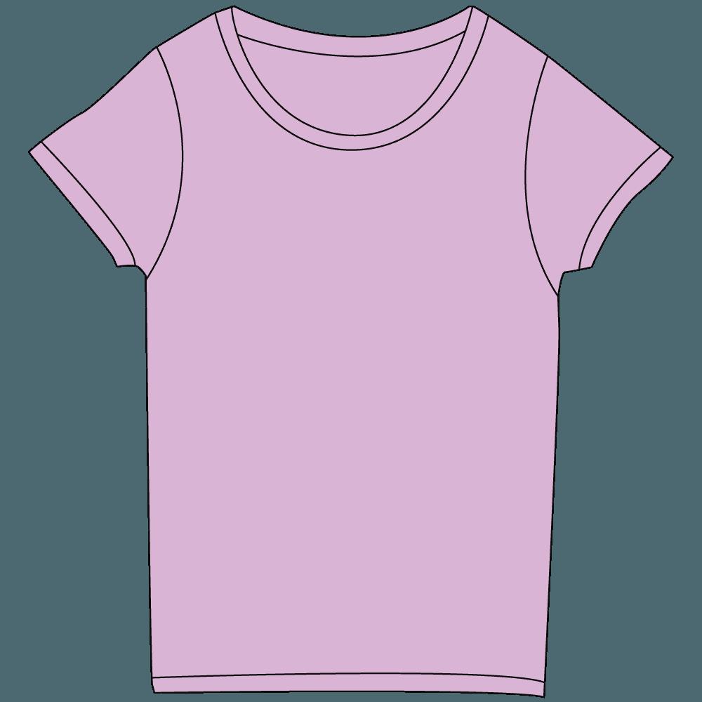 レディース淡色紫Tシャツイラスト