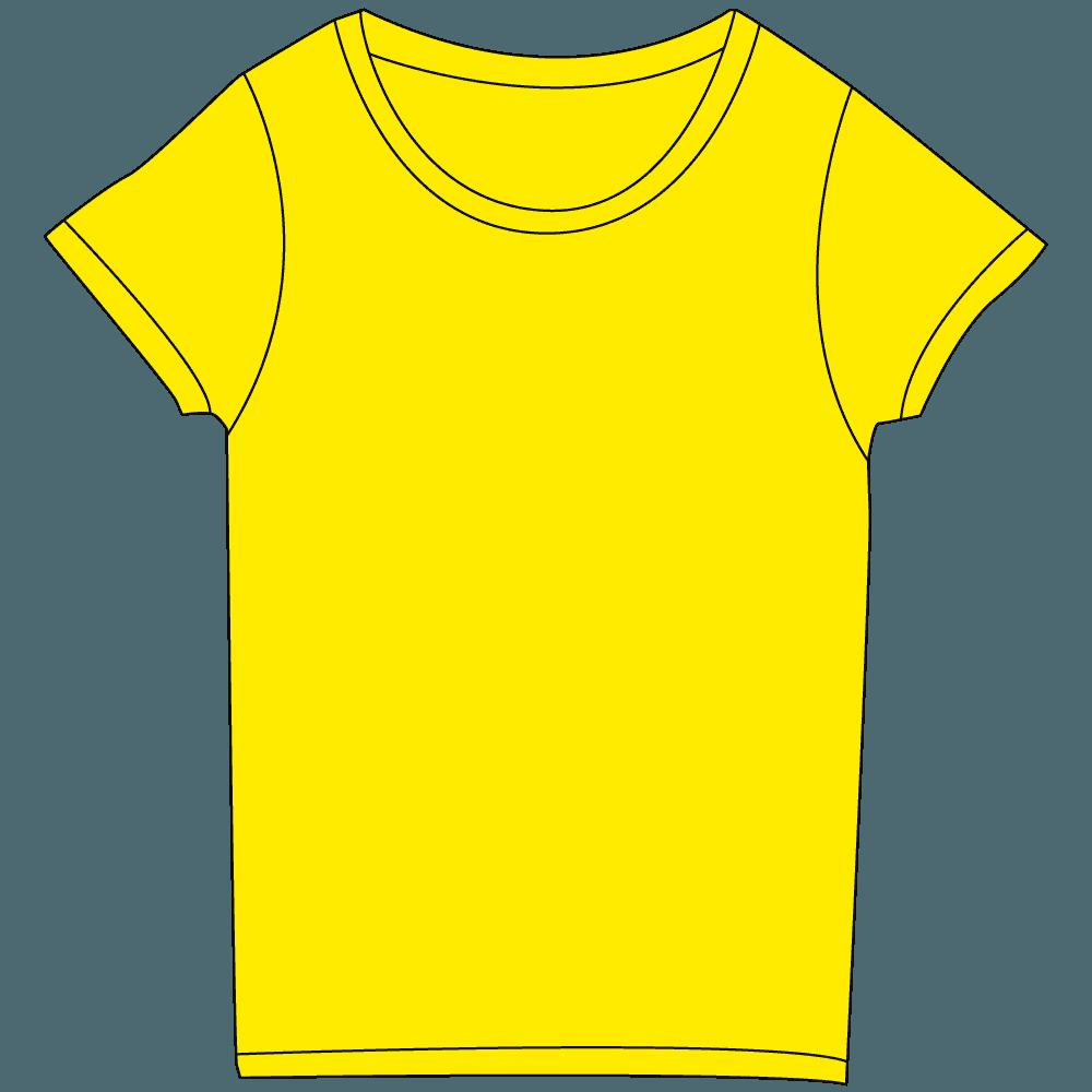 レディース濃色イエローTシャツイラスト