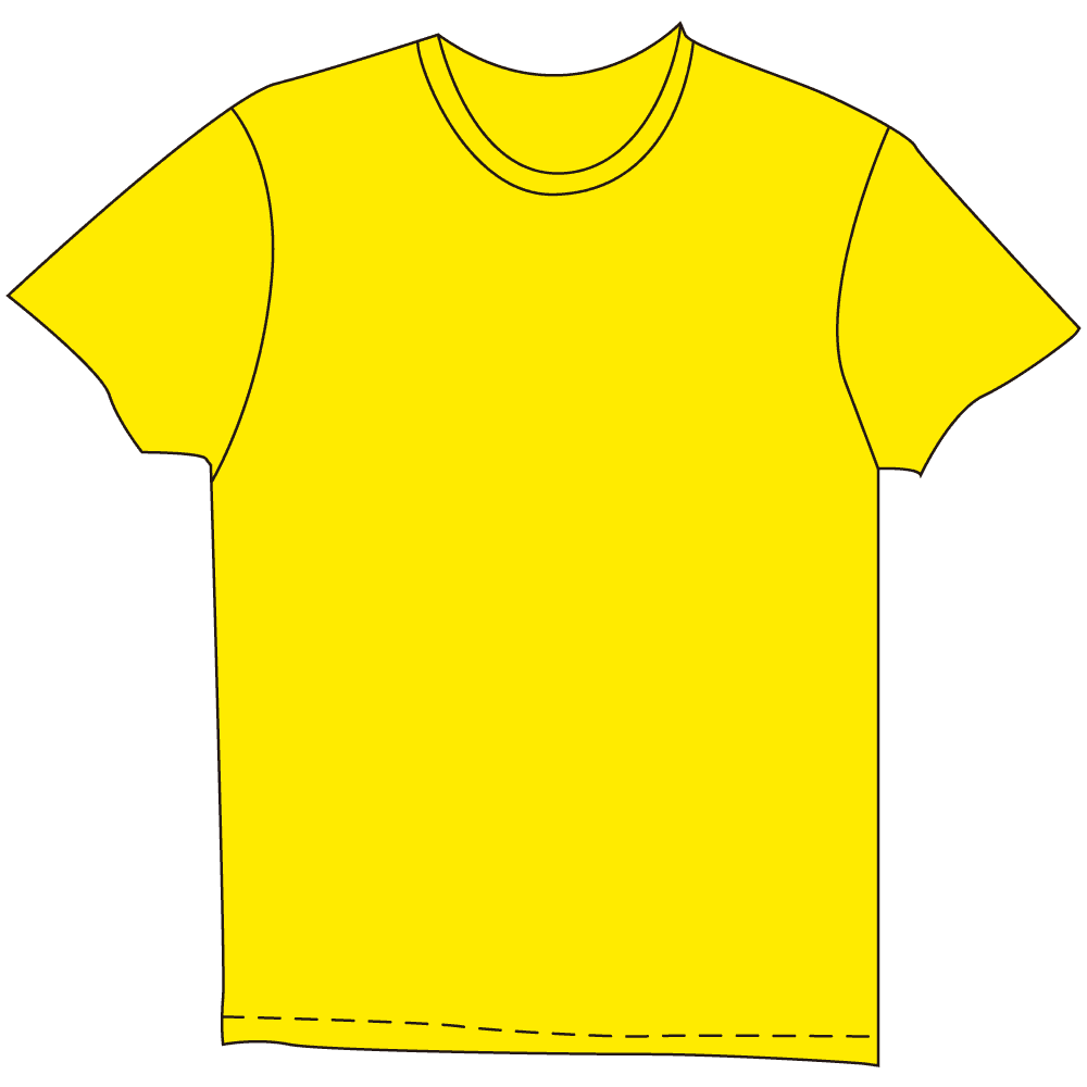 メンズTシャツ濃色イエローのイラスト