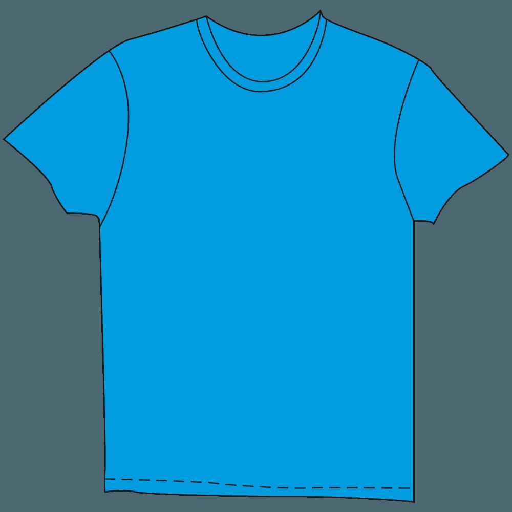 メンズTシャツ濃色水色イラスト