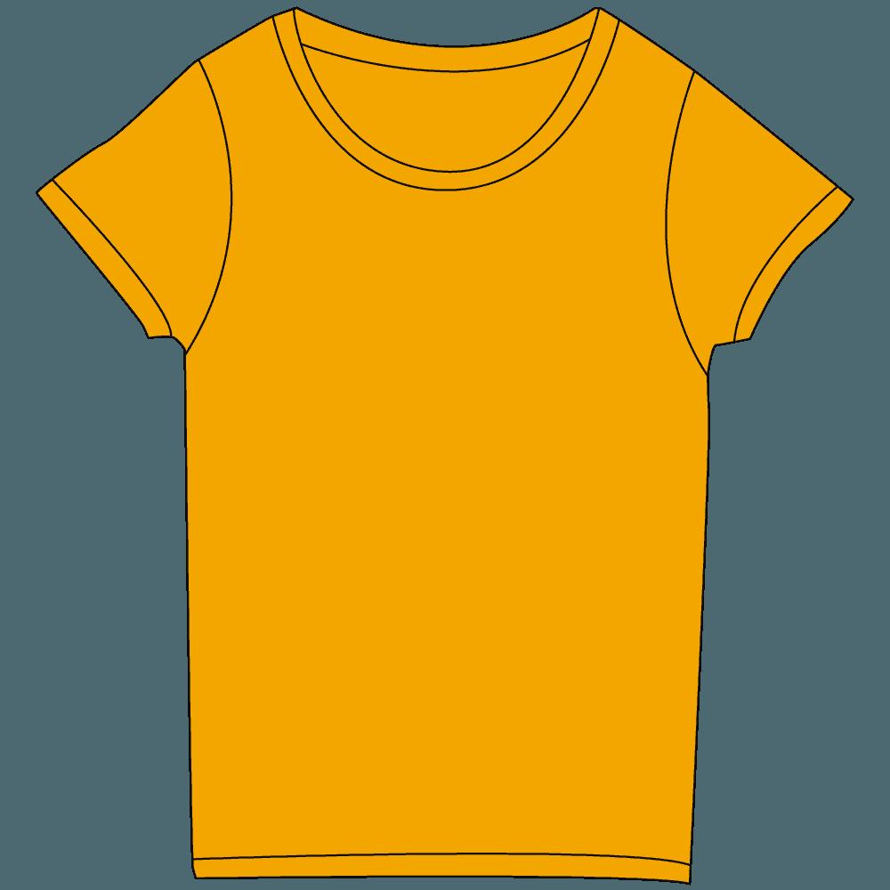 レディース濃色オレンジTシャツイラスト