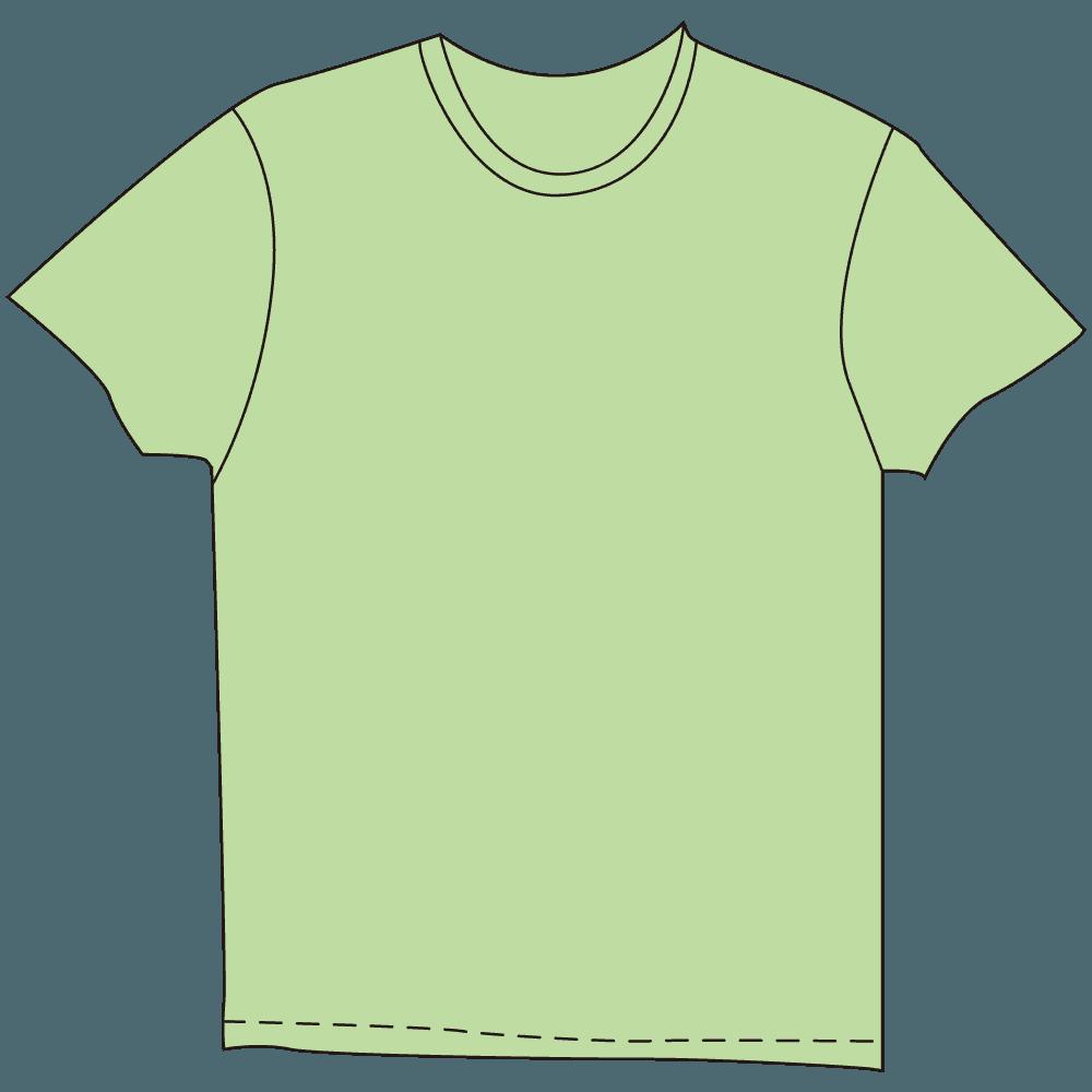 メンズTシャツ淡色グリーンイラスト