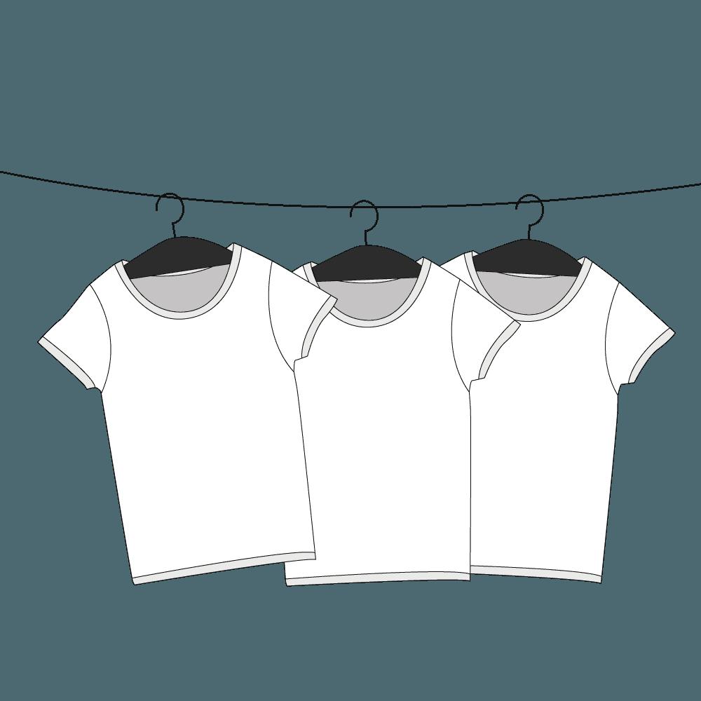 ハンガーで吊るされたTシャツイラスト