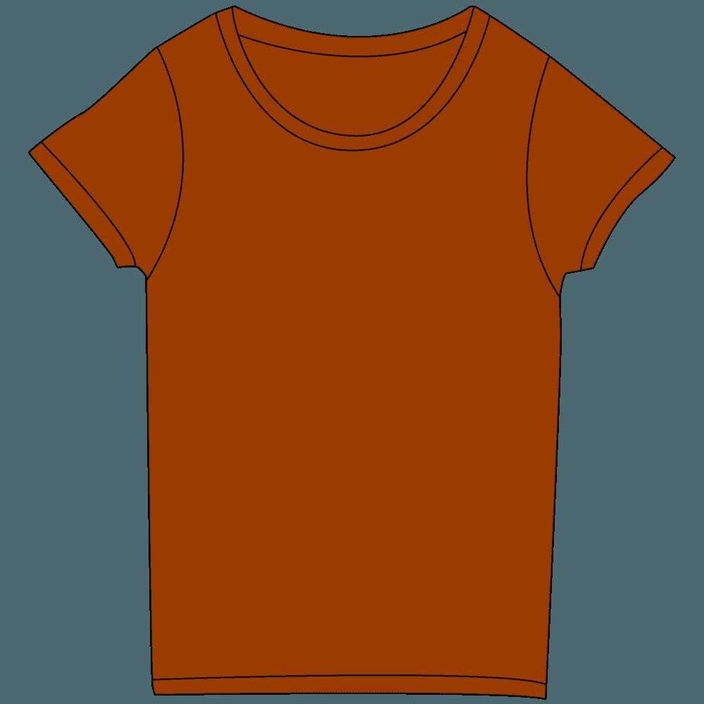 レディース濃色茶色Tシャツイラスト