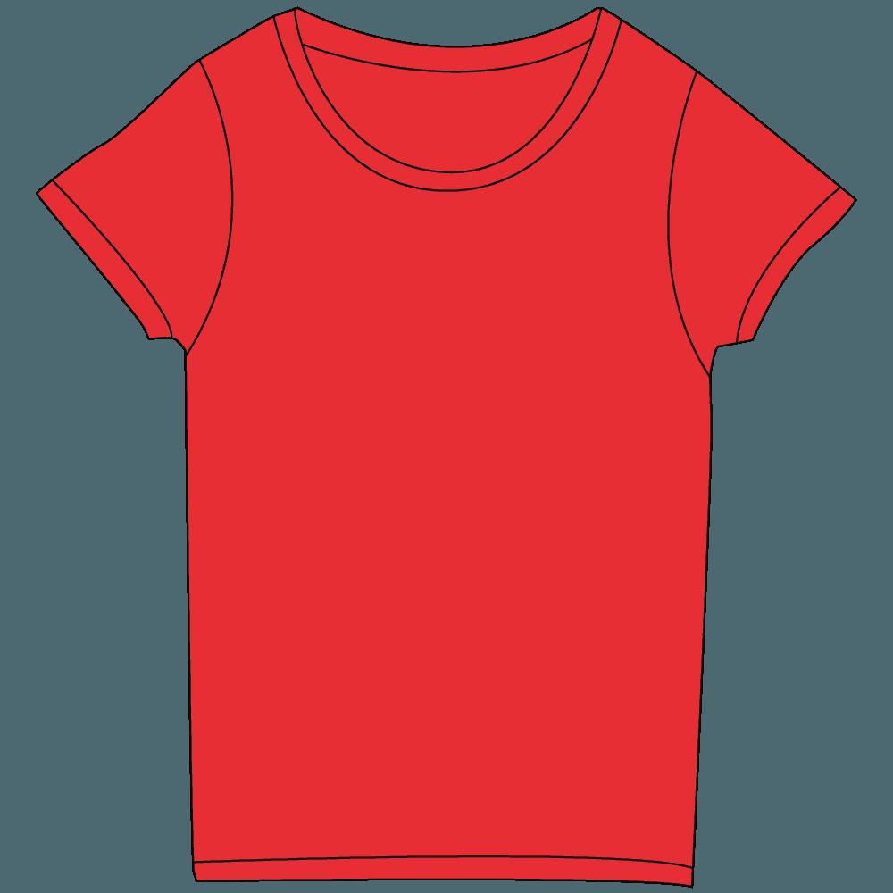 レディース濃色レッドTシャツイラスト