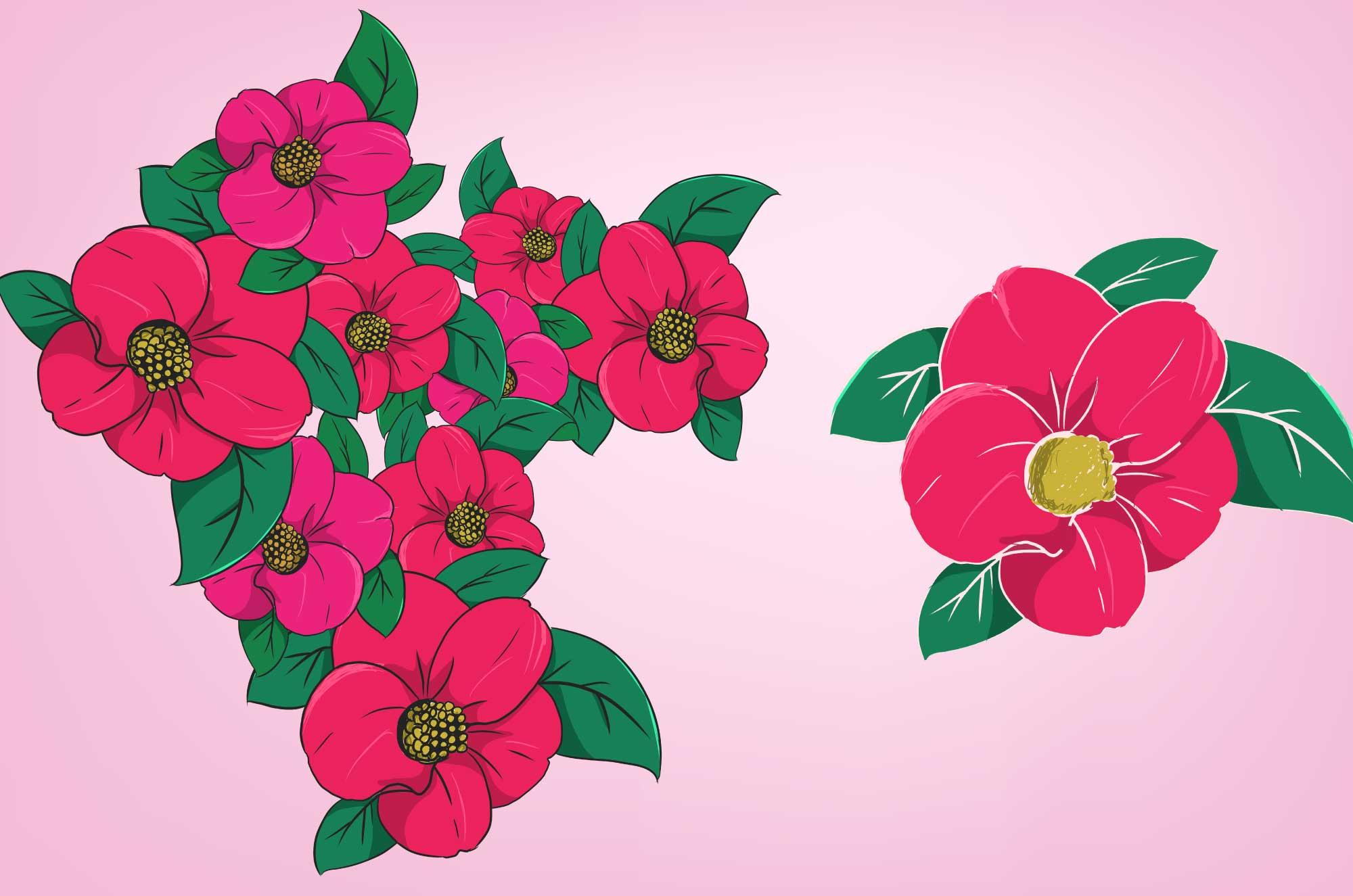 椿(ツバキ)の無料イラスト - 綺麗なお花のフリー素材