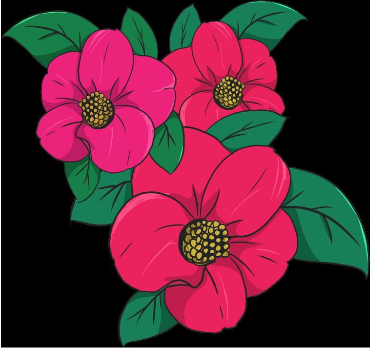 咲き乱れる椿のイラスト