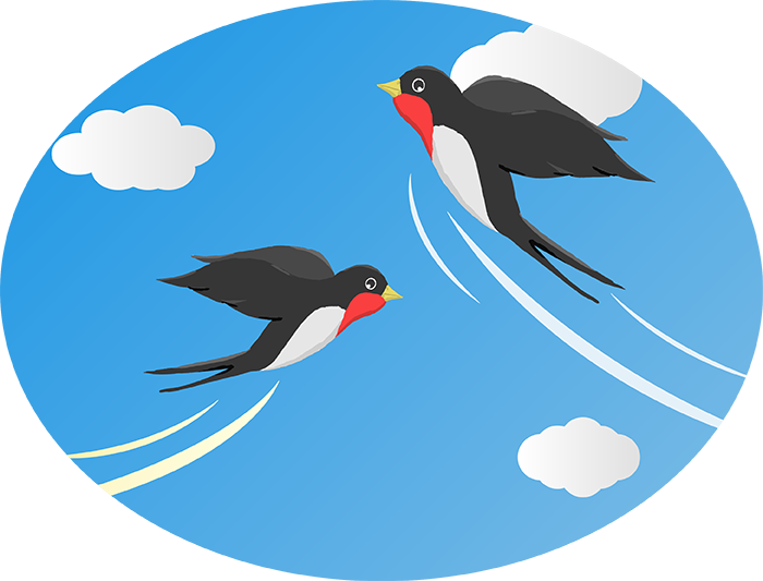 大空を飛ぶツバメのイラスト挿絵
