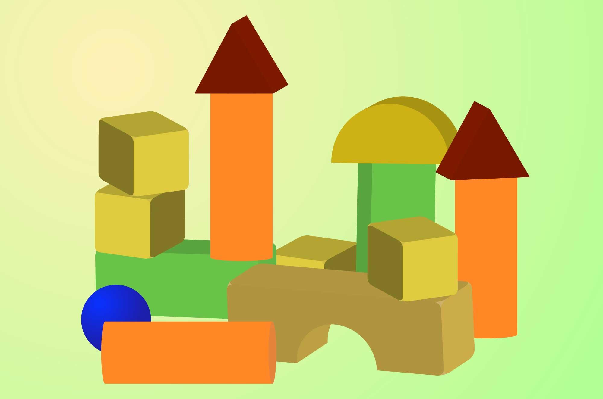 積み木のイラスト - 子供のおもちゃのフリー素材