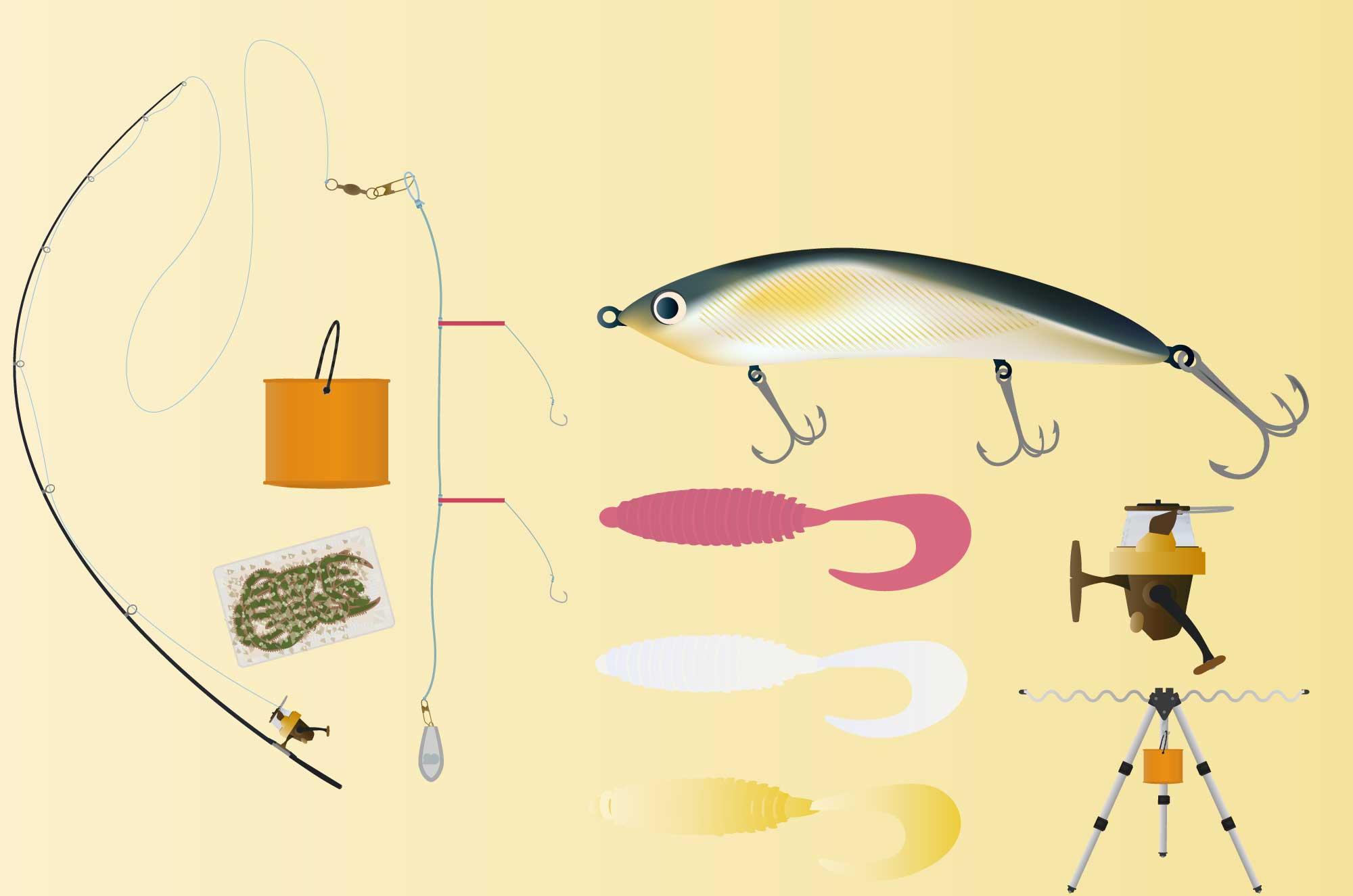 釣りのイラスト - ルアー・竿・リール・道具無料素材