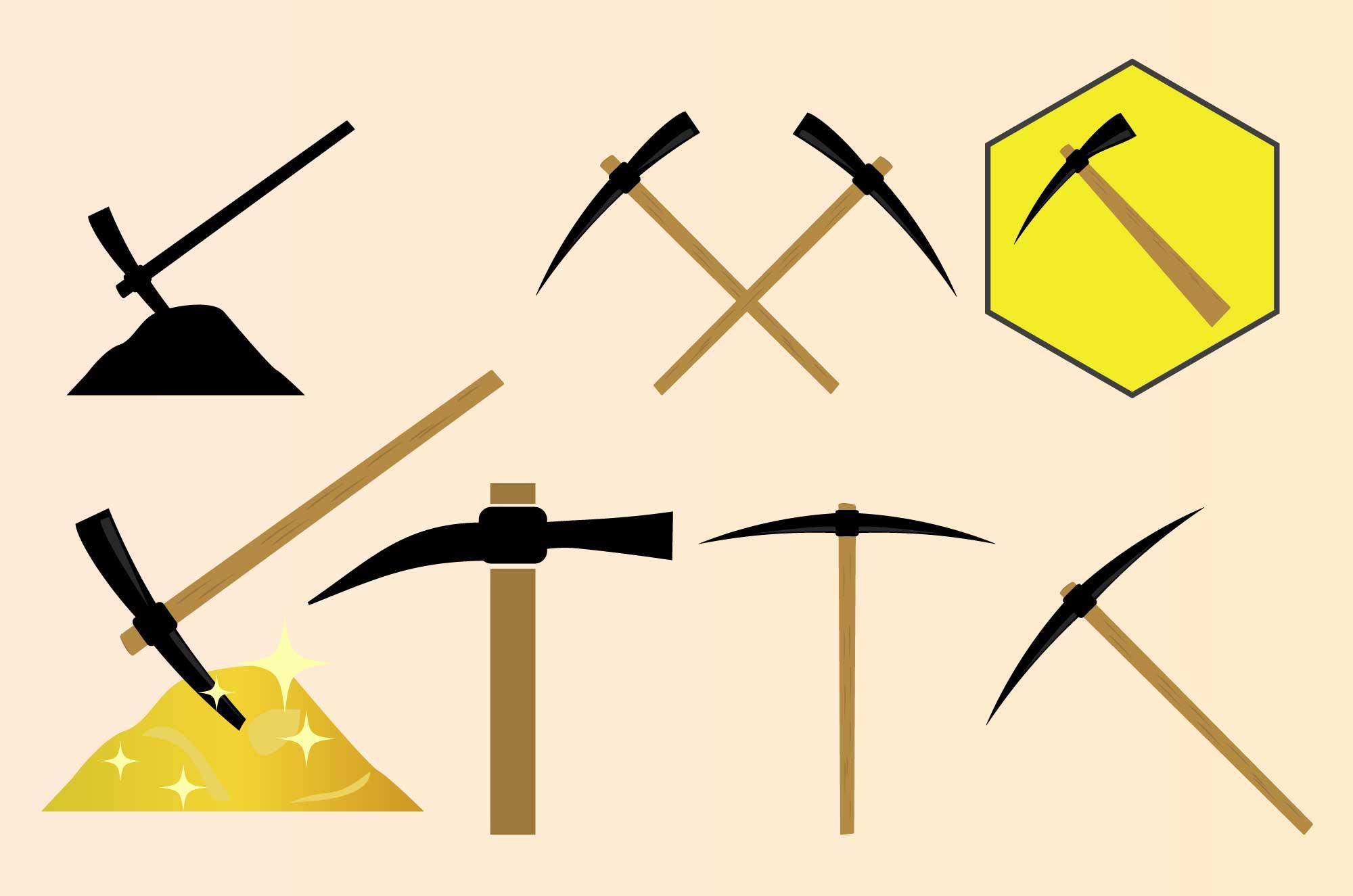 ツルハシのフリーイラスト - 発掘イメージ無料素材