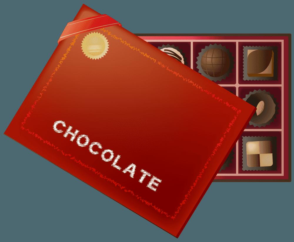箱が空いたチョコレートの詰め合わせのイラスト