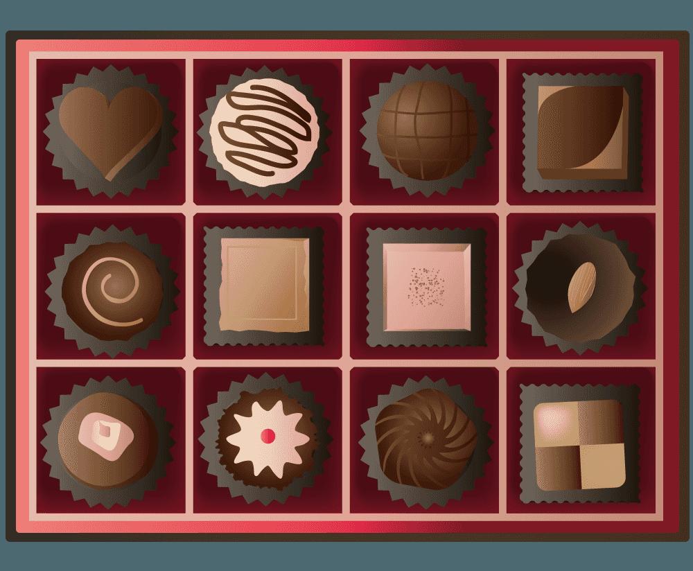 チョコの詰め合わせイメージのイラスト