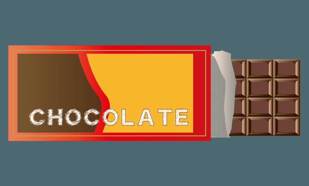 箱からはみ出た板チョコのイラスト