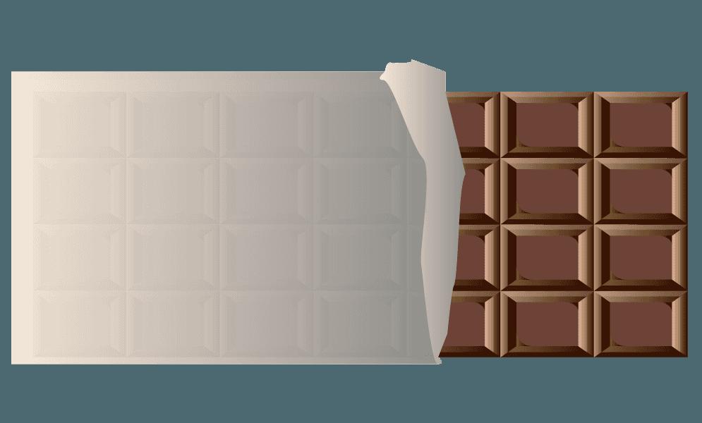 銀紙に包まれた板チョコのイラスト