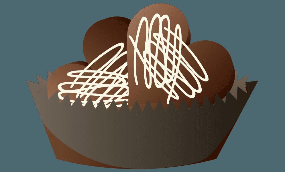 カップに入った可愛いハートのチョコのイラスト