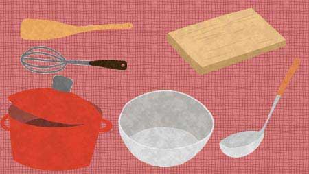 調理器具のイラスト - 可愛い手描きの温かみのある無料素材
