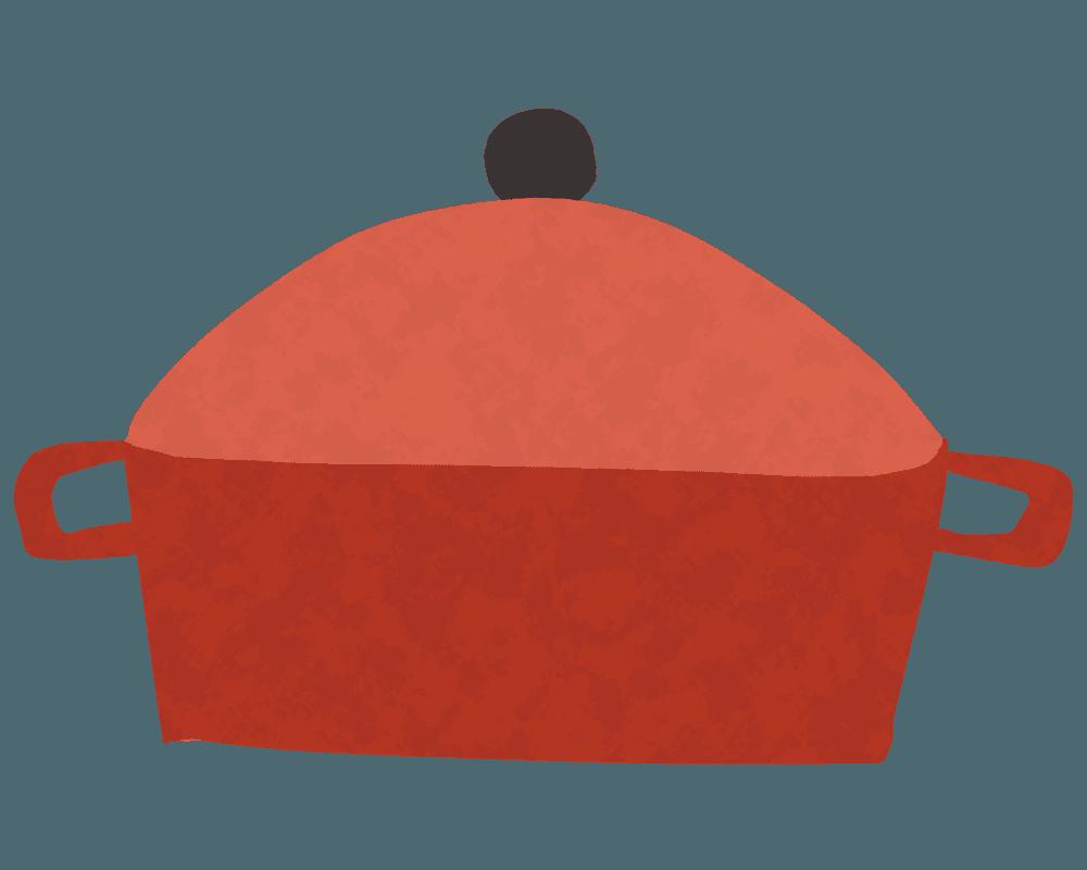 横向きの可愛いお鍋のイラスト