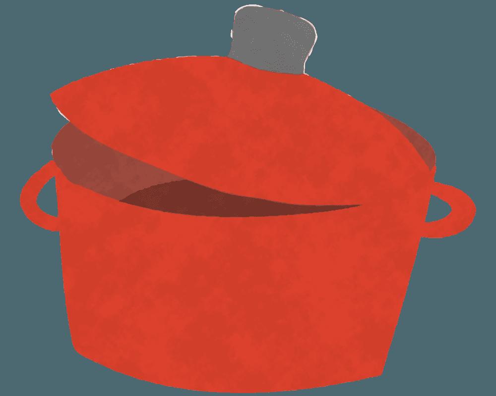 可愛いお鍋とお鍋のふたのイラスト
