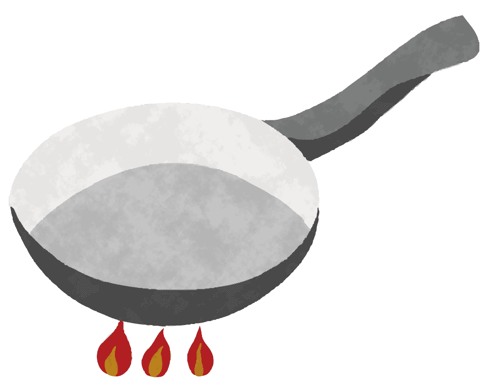 火にかかるフライパンのイラスト