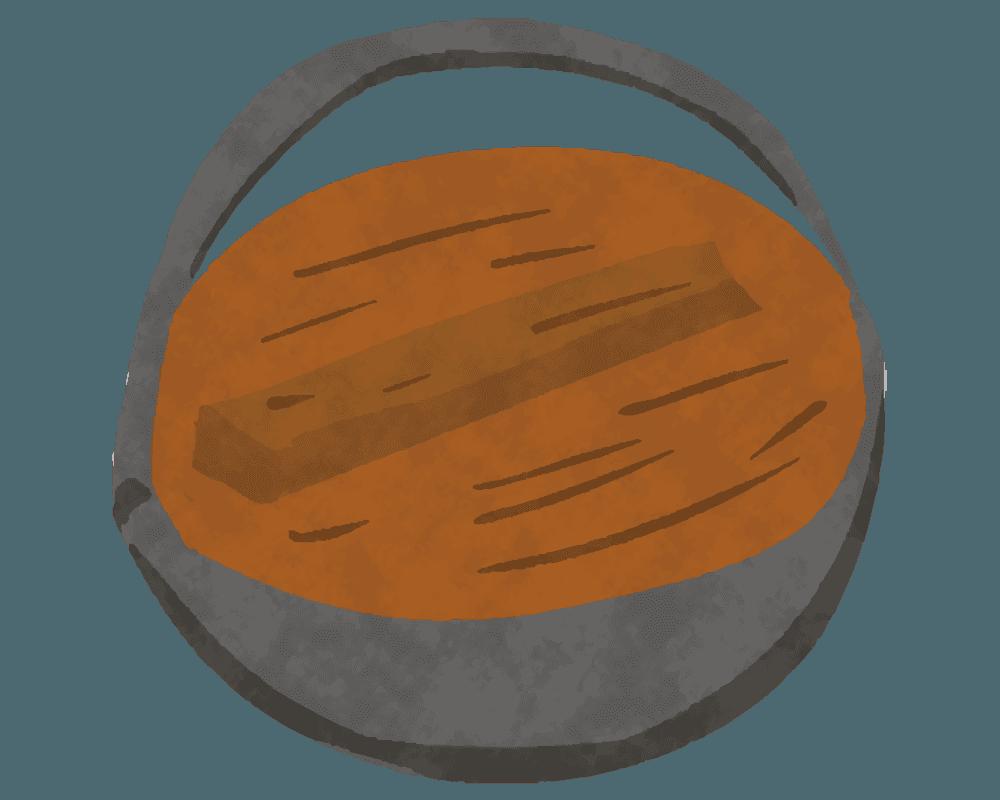和風な鉄鍋と落し蓋のイラスト