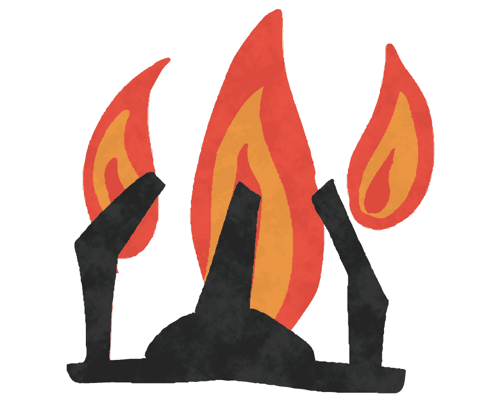 ガスコンロの火のイラスト