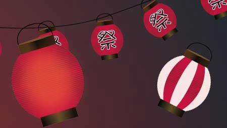ちょうちんイラスト - お祭りの飾りのフリー装飾素材