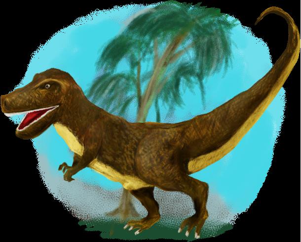 ティラノサウルスのイラスト(背景あり)