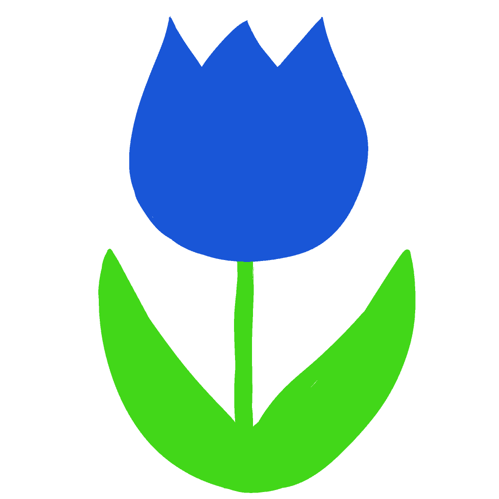 青いキュートなチューリップイラスト