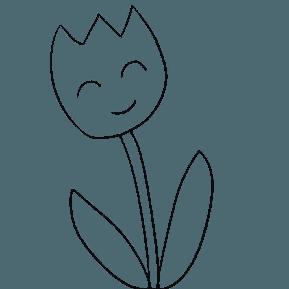 笑顔のチューリップの白黒塗り絵