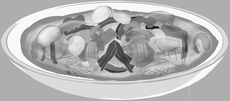 中華飯のイラスト(白黒)
